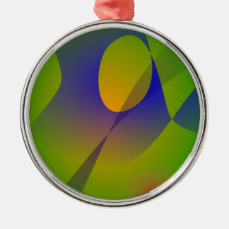 Green Wind Round Metal Christmas Ornament