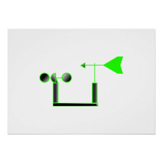 Green Wind Speed and Weather Vane Poster