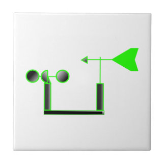 Green Wind Speed and Weather Vane Ceramic Tile