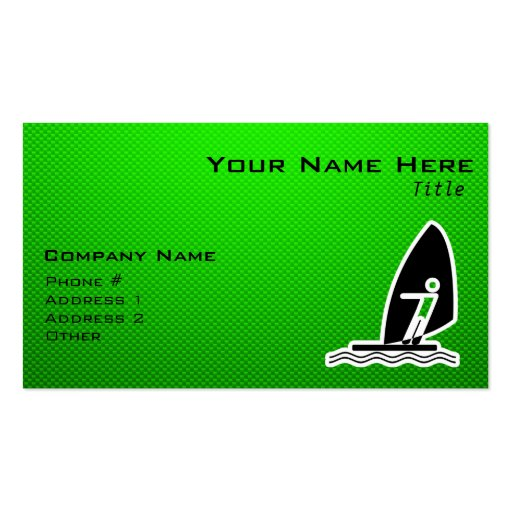 Green Windsurfing Double-Sided Standard Business Cards (Pack Of 100)