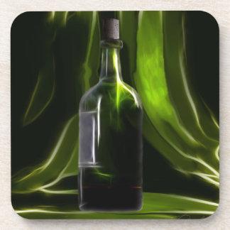 Green wine bottle against deep green background beverage coaster