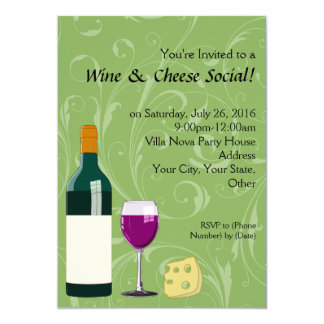Green Wine & Cheese Social Party Flat Invitations