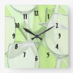Green Wine Glasses Numbered  Wall Clock