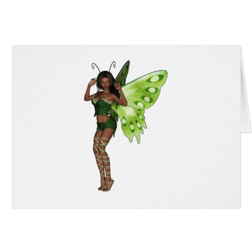 Green Wing Lady Faerie 3 - 3D Fairy - Card