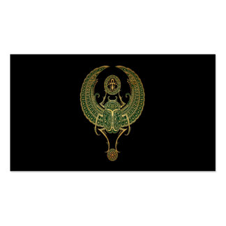 Green Winged Egyptian Scarab Beetle and Ankh Black Business Card