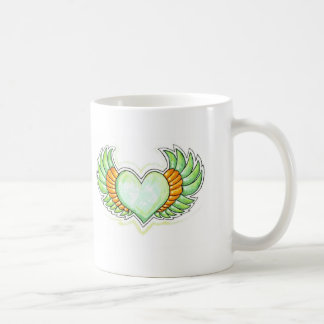 GREEN WINGED HEART TATTOO COFFEE MUG