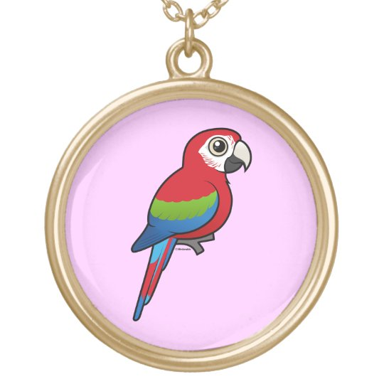 Green-winged Macaw Gold Plated Necklace