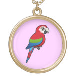 Green-winged Macaw Round Pendant Necklace