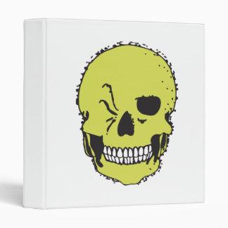 green winking skull 3 ring binder