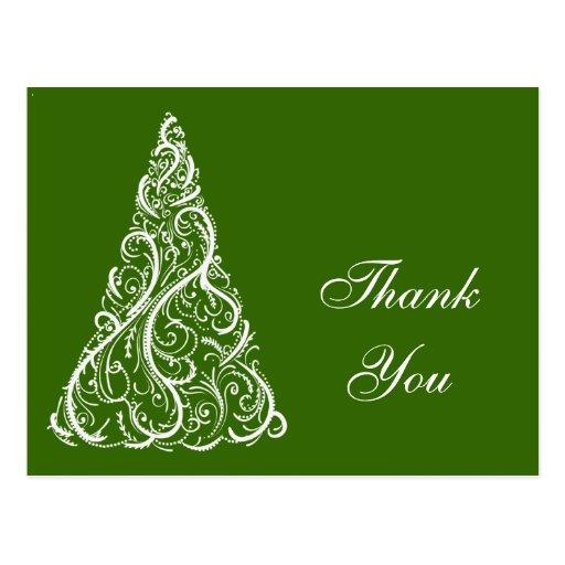 Green Winter Christmas Tree Thank You Postcard