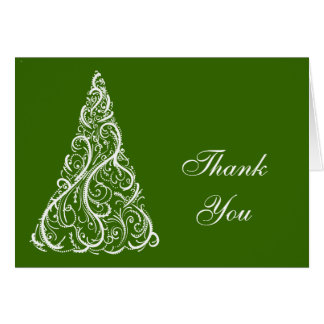 Green Winter Holiday Thank You Card