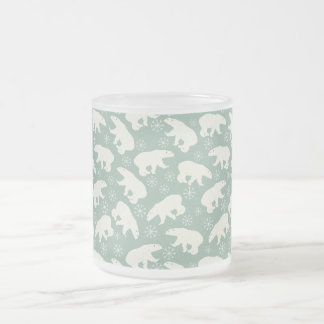 Green Winter-Mug with Polar Bears Frosted Glass Coffee Mug