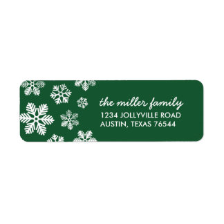 Green Winter Snowflakes Personalized Address Label