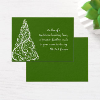 Green Winter Wedding Charity Favor Card
