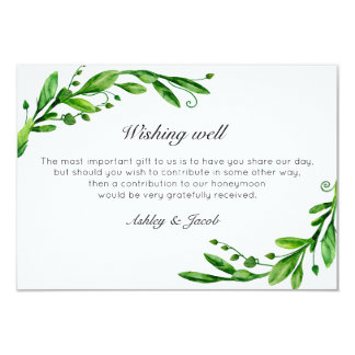 Green wishing well. Summer wedding. Insert card
