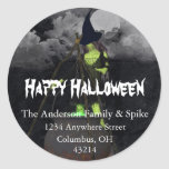 Green Witch Brewing Halloween Address Labels Round Stickers