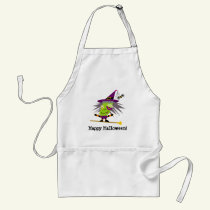 Green Witch Halloween Kawaii Cartoon Adult Apron