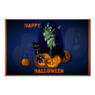 Green Witch -Happy Halloween Poster