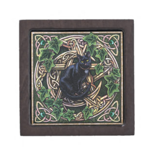 Green Witch Magic Pentagram and Cat Gift Box