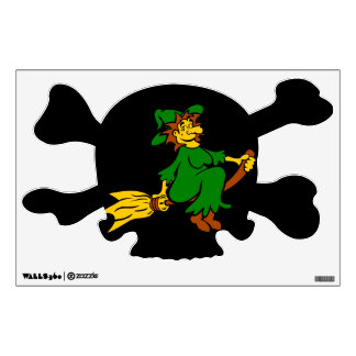 Green witch on broom wall sticker