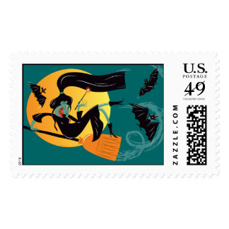 Green Witch Postage Stamp