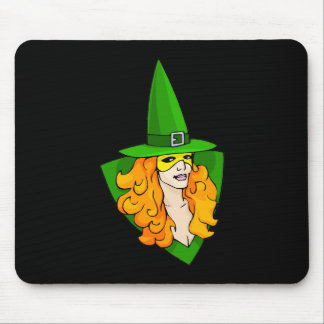 Green witch red hair mouse pads
