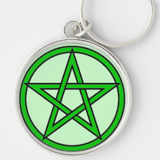 Green Witch Silver-Colored Round Keychain