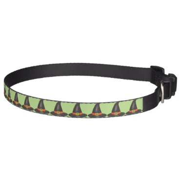 Halloween Themed Green Witch Witches Hat Hats Halloween Dog Collar