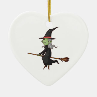 Green Witch with Gray Hair Flying on Broomstick Ceramic Ornament