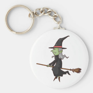 Green Witch with Gray Hair Flying on Broomstick Keychain