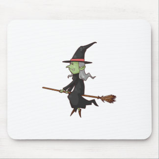 Green Witch with Gray Hair Flying on Broomstick Mousepads