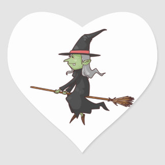 Green Witch with Gray Hair Flying on Broomstick Heart Sticker