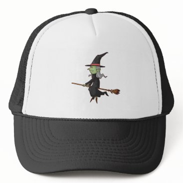Halloween Themed Green Witch with Gray Hair Flying on Broomstick Trucker Hat