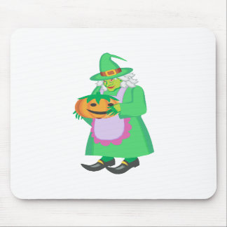 Green witch with pumpkin mousepads