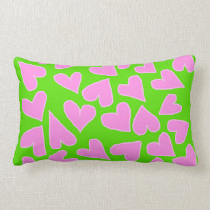 GREEN WITH BARBIE PINK HEARTS THROW PILLOW