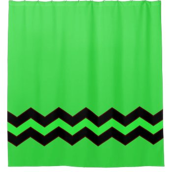 Green with Black Accent Shower Curtain