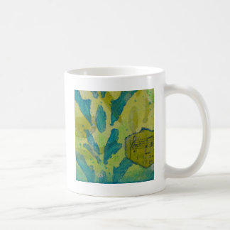 Green with Blue Mixed Media Coffee Mug