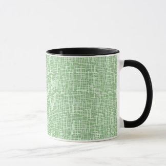 Green with cream crosshatching mug