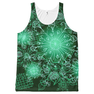 Green with Envy Black and Green Floral Tank Top All-Over Print Tank Top