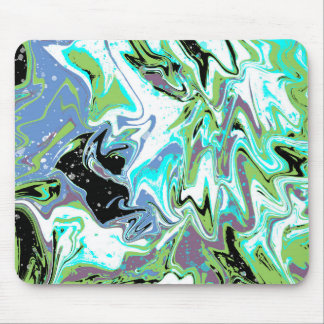 Green With Envy Fluid Abstract Painting Mouse Pad