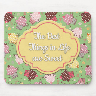 Green with Pink and Yellow Cupcakes Mousepad