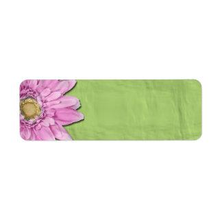 Green with Pink Daisy Blank Labels Custom Return Address Label
