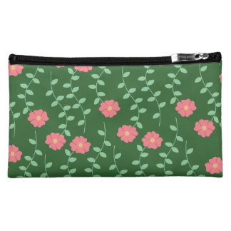 Green with Pink Flowers & Leaves Makeup Bag