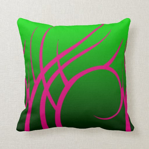 Tribal Design Throw Pillows : Green with Pink Tribal Design Throw Pillow Zazzle