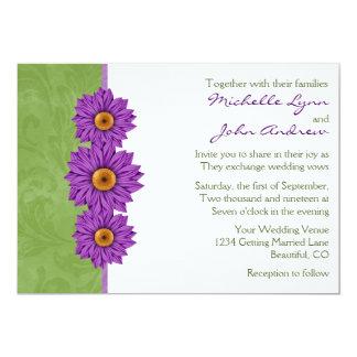 Green with Purple Flowers Wedding Invitation