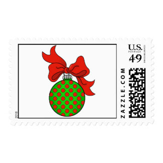 Green with Red Dots Christmas Ornament Stamp