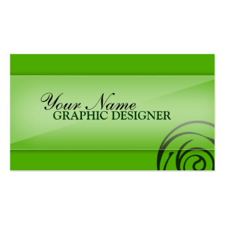 Green with Spiral Graphic Designer Business Cards