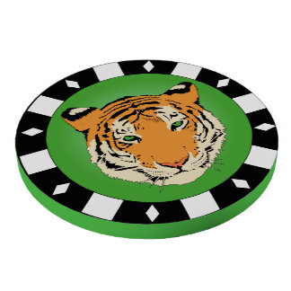Green With Tiger Picture Poker Chips Set