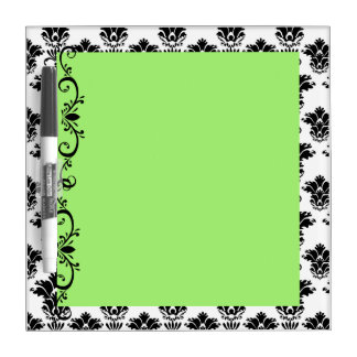 Green with White and Black Damask Dry Erase Board