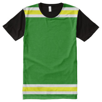 Green with White and Yellow Trim All-Over-Print T-Shirt